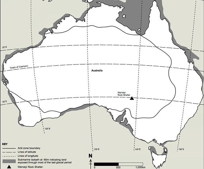 Map showing Warratyi rock shelter