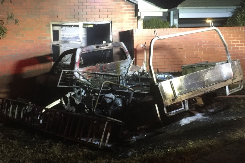 The burnt-out ute outside an apartment in Gordon.