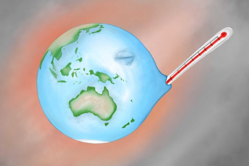 Picture of a globe with a thermometer in it's mouth and a hot looking background.