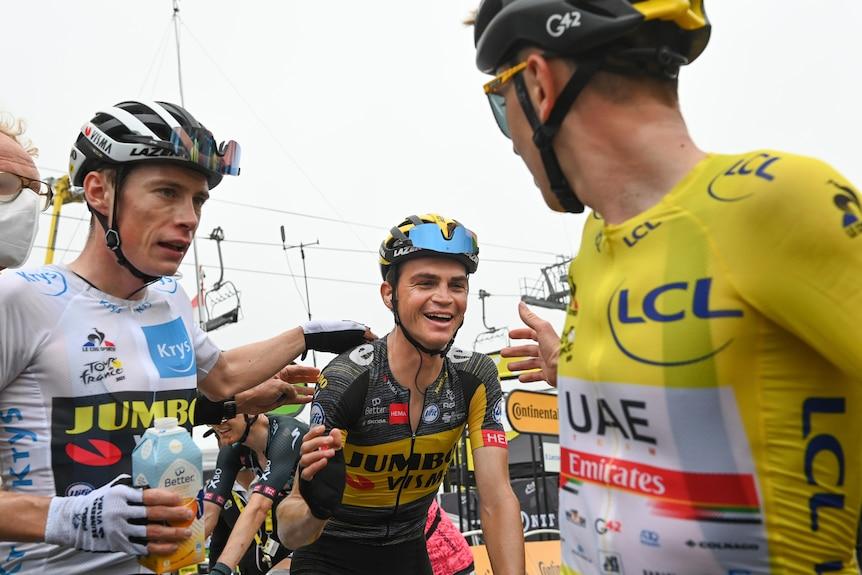 Tadej Pogacar, Seb Kuss and Jonas Vingegaard after stage 18