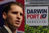 A composite image of Andrew Hastie and a sign for the Darwin Port.
