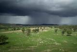 Rain falls from a dark rain cloud, over green paddocks.