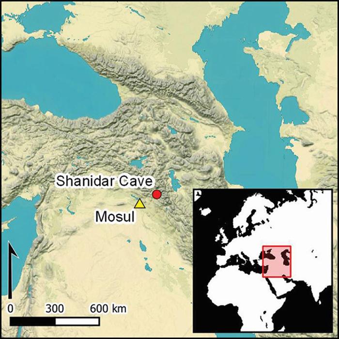 Map showing location of Shanidar Cave in Iraqi Kurdistan
