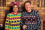 NT Tourism Minister Lauren Moss and Chief Minister Michael Gunner in festive Christmas jumpers