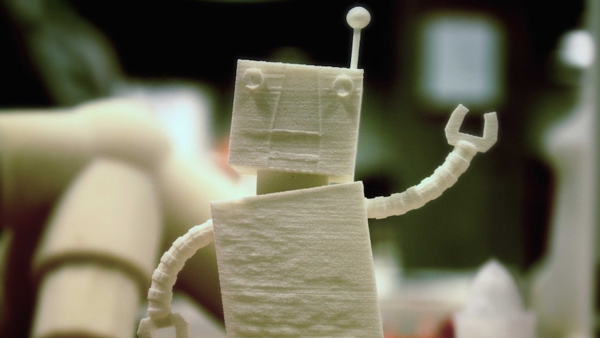 A small robot produced on a 3D printer at the Architecture and Design School in Oslo.