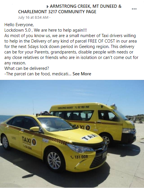 A Facebook post advertising the free delivery service in a local community group