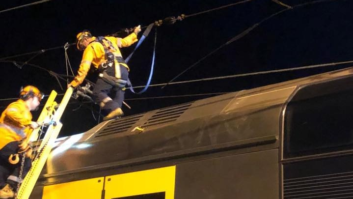 engineers fixing wiring over a train in the early morning
