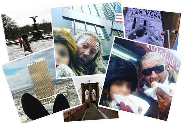 Pics of Morales and wife at New York and Las Vegas tourist sites.