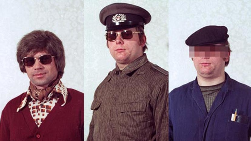 The archival photographs reveal disguises used by the Stasi secret police during the Cold War