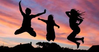 Children jump