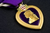 Mocked up Purple Heart Medal showing Donald Trump's face, August 2016