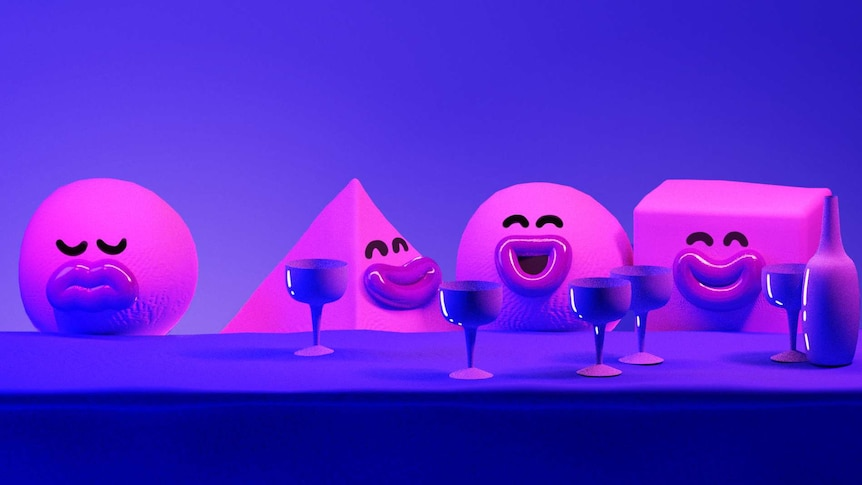 Human-like purple shapes enjoy a drink at a bar, while another shape sits alone without a drink to depict being left out at work