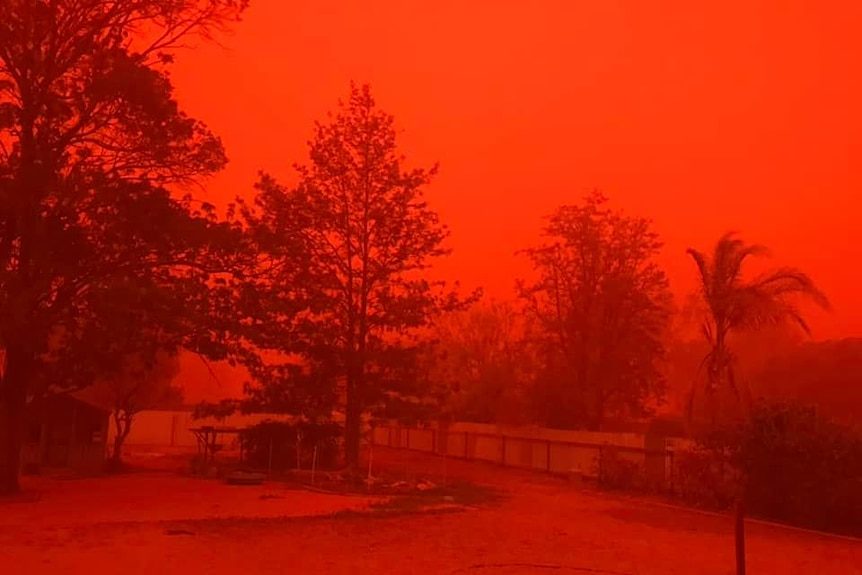A red dust storm takes over Nyngan in western New South Wales.