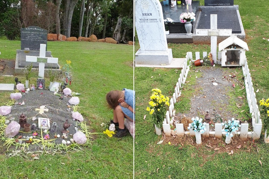 A side-by-side image of a young boy's grave, decorated with mementos.