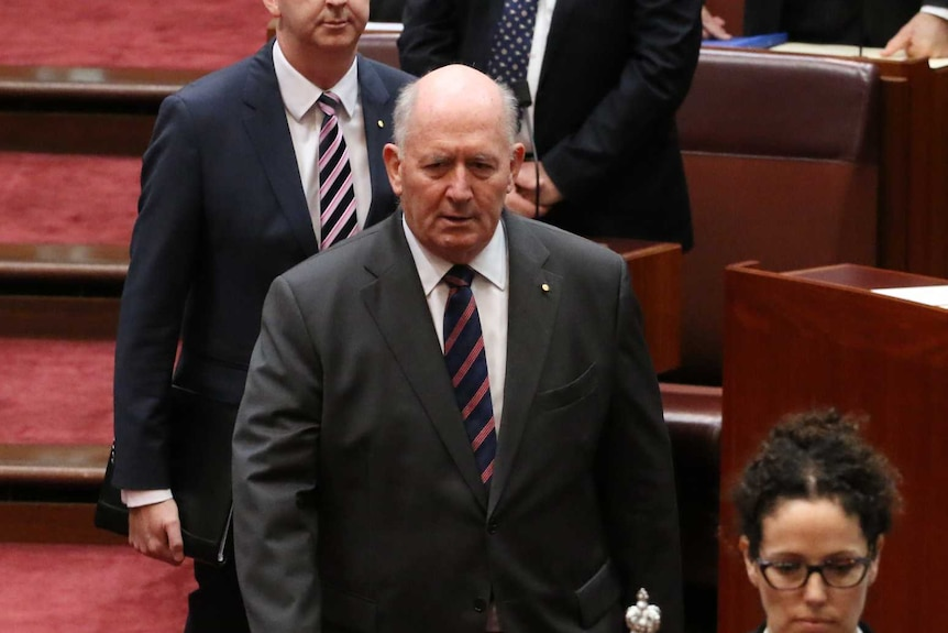Governor-General Peter Cosgrove arrives in the Senate.