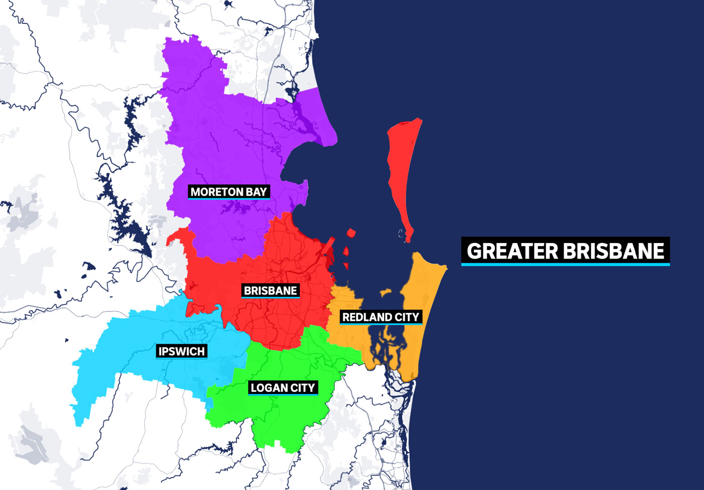 A graphic showing the local government areas of Brisbane, Logan, Redland City, Ipswich and Moreton Bay.