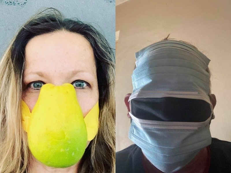 A woman wears a face mask made from a fruit skin and a man wears multiple face masks at once.