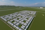 Artists impression of the Wellcamp quarantine facility, showing rows of cabins.