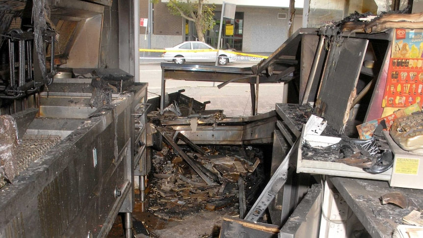 Takeaway shop destroyed in arson attack at Riverstone, April, 2014