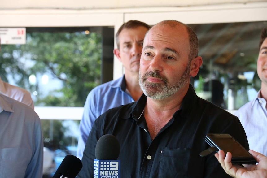 Bill Yan speaking at a Darwin press conference following the announcement of his CLP candidacy.