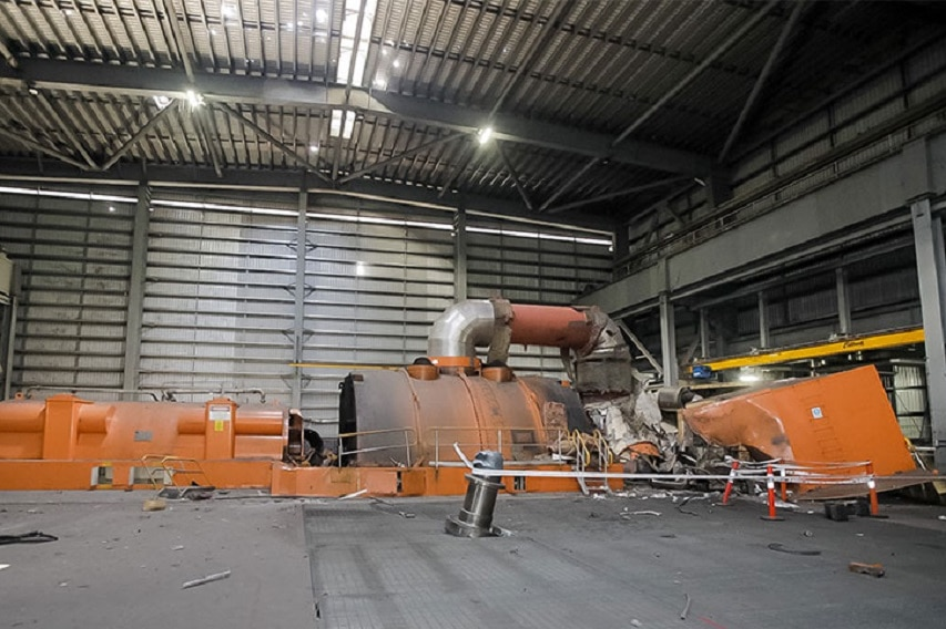 Damage to Unit C4 at Callide Power Station following a plant fire.