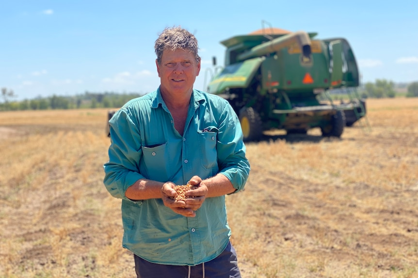 Neal Johansen standing in a long sleeved blue shirt holding chickpea, machinery behind.