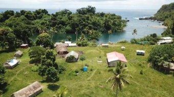 An aerial shot of green grass, palm trees, huts and the ocean.