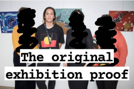 An Instagram post giving proof that a womans artwork was stolen for an AFL Indigenous jersey, with an old art exhibition photo