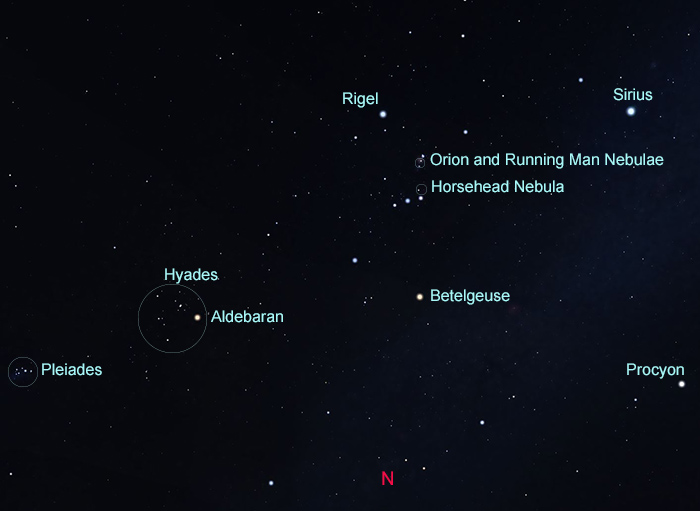 Map of constellations in northern sky in January at 10:00pm
