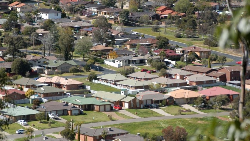 Rooftops of houses in the NSW city of Wagga Wagga.