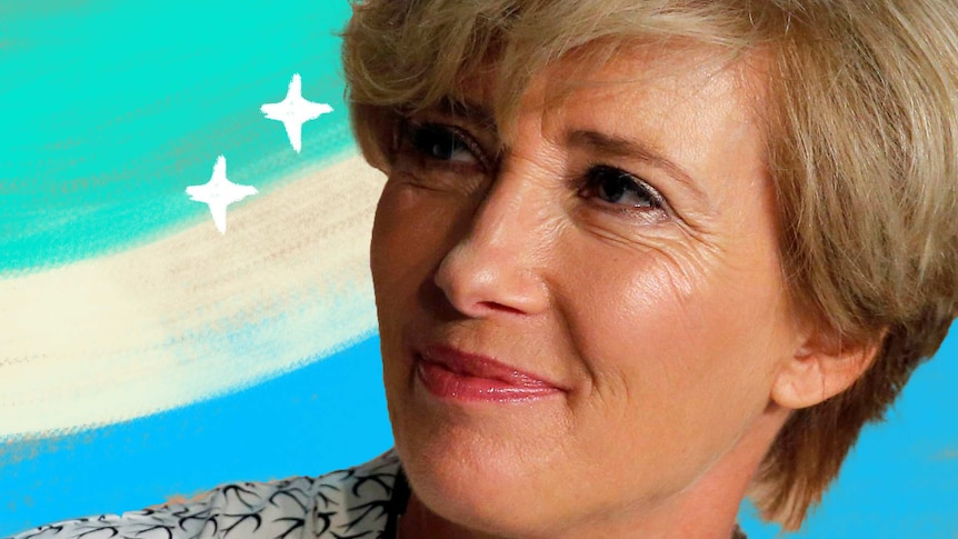Portrait of Emma Thompson looking to the left with illustrated stars and aqua in the background.