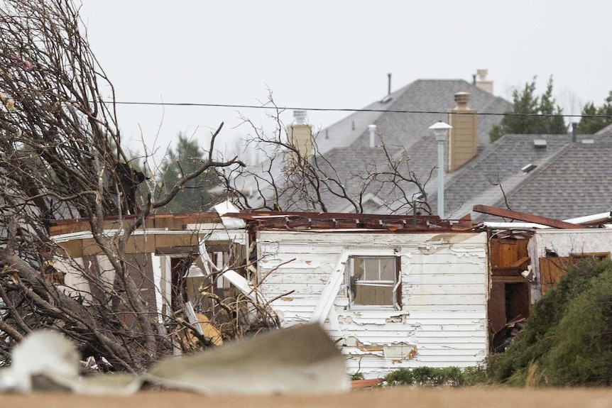 Fallen trees and a damaged home