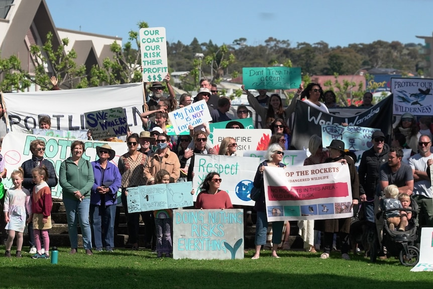 A large group of protesters hold up environmental concern signs