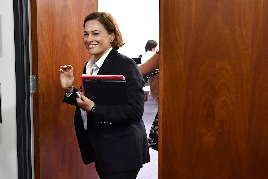 Queensland Deputy Premier Jackie Trad is seen leaving the Labor Caucus Meeting at Queensland Parliament House.