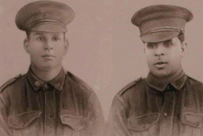 Kenneth Farmer's brothers, Augustus (left) and Larry (right), both served at Gallipoli and died on the Western Front.
