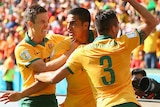 Tim Cahill celebrates at World Cup after goal