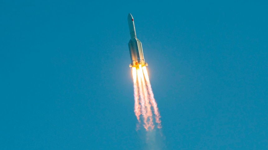 rocket launching into space