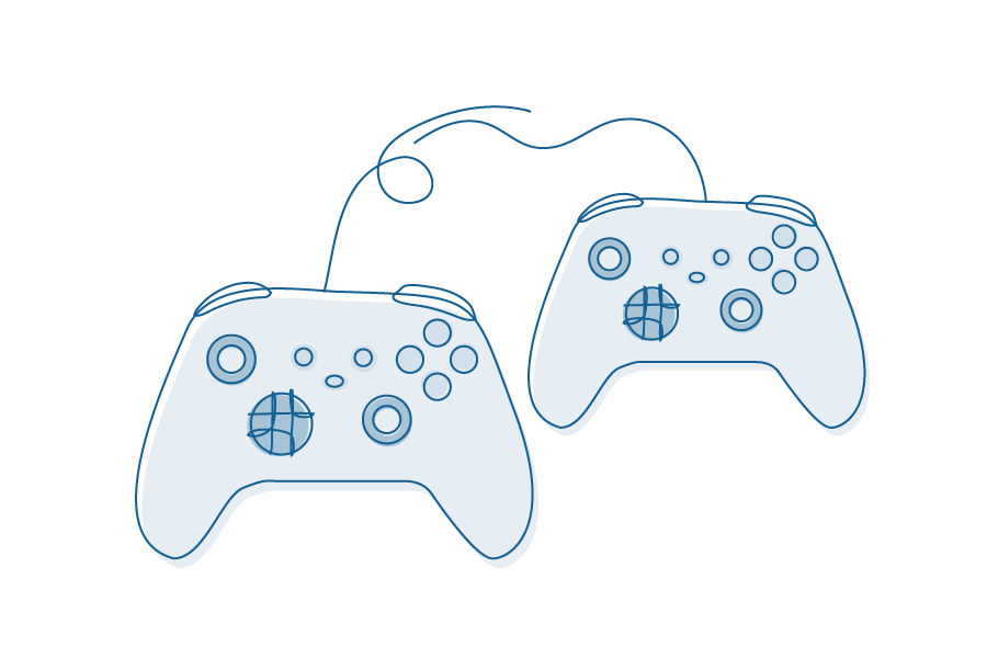Illustration of two online gaming controllers.