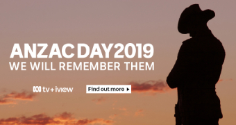 Graphic depicting statue of soldier and words commemorating Anzac Day 2019.
