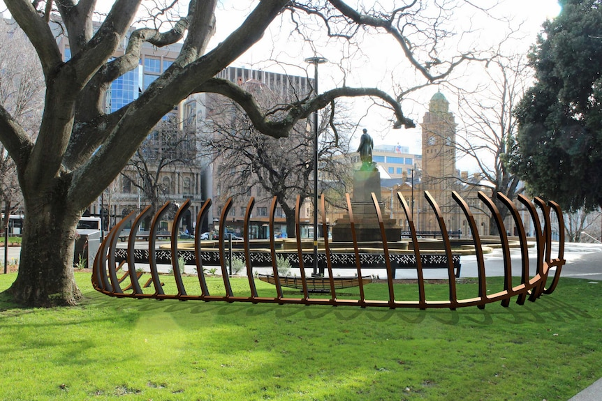 The back of the Franklin Square art installation design looking towards the GPO