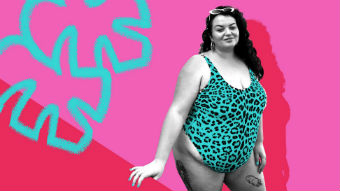Ally Garrett pictured in swimwear against a backdrop of bright colours, for a story about feeling good enough.