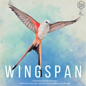 The box for the board game Wingspan with a beautiful illustrated bird in flight