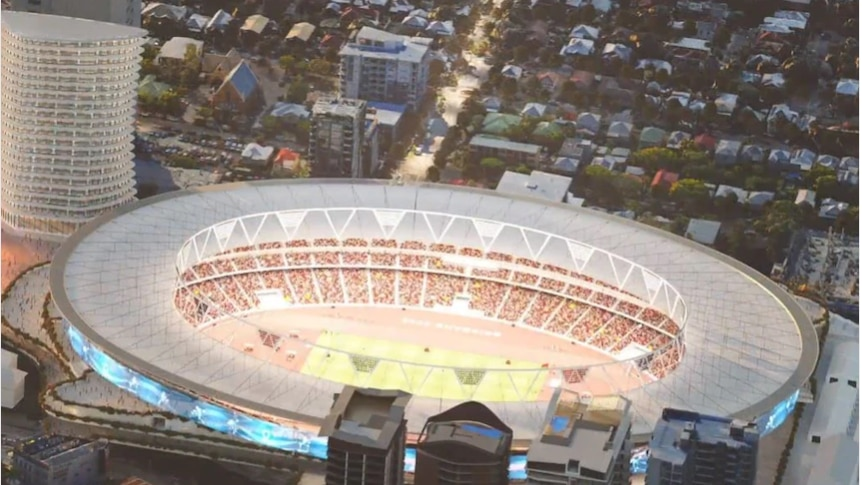 A projected aerial view of the Gabba Stadium in Brisbane.