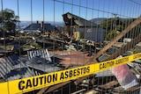 Mt Stuart house asbestos sign