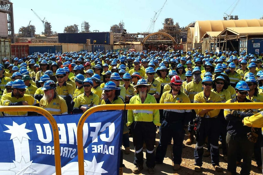 Workers on Gorgon's Barrow Island LNG project
