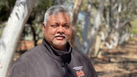 A man with gray hair and gray wool stands under the light filtered through the gum trees above.