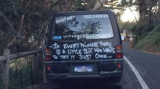 Wicked Campers says the slogans on its vans are funny sayings, not ads.