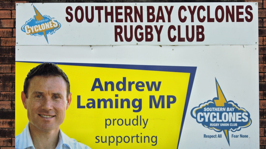 A sign says Andrew Laming supports the Southern Bay Cyclones Rugby Club