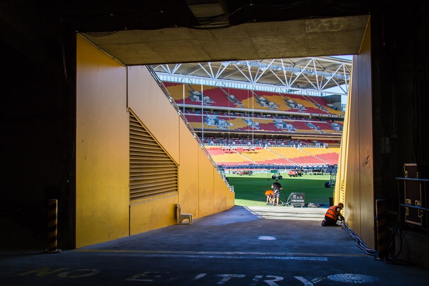 Looking out the tunnel at Lang Park.