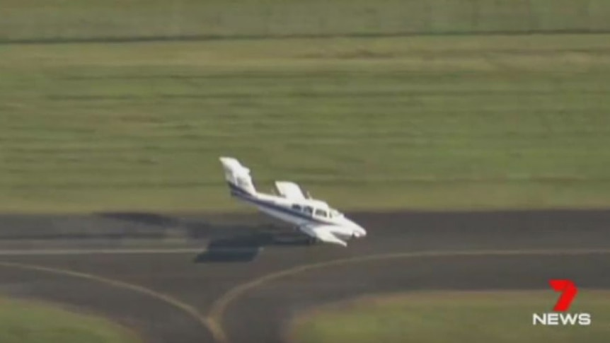 The aircraft's landing was filmed by a Channel 7 helicopter.
